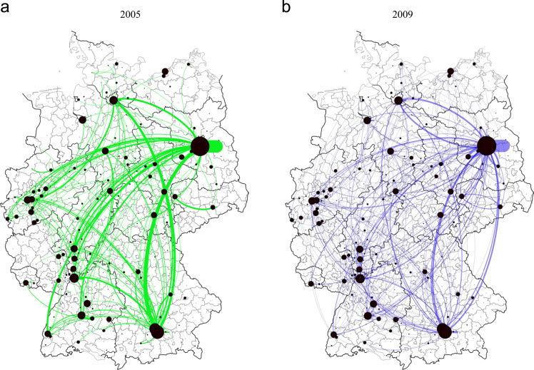 Modeling interregional research collaborations in German biotechnology using industry directory data.